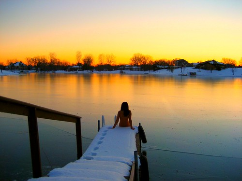 Naked by Lake in Snow