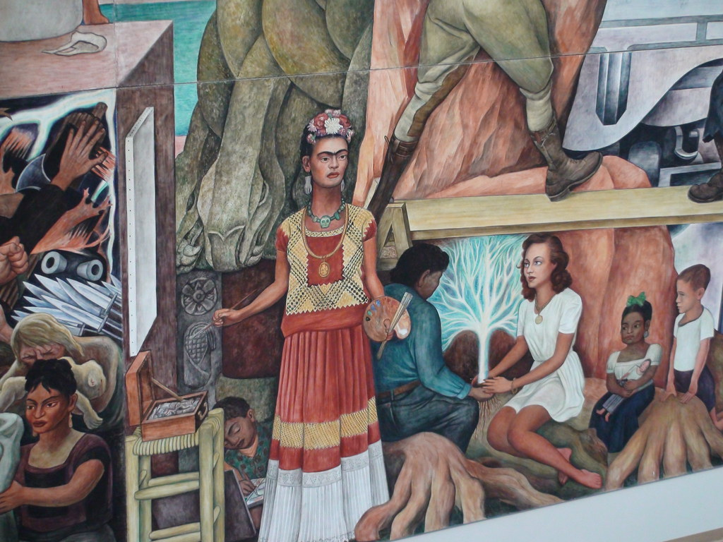 Frida kahlo in diego rivera 39 s mural panamerican unity at for Diego rivera mural in san francisco