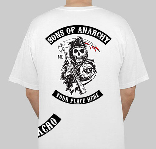 sons of anarchy white t shirt for mens back sons of. Black Bedroom Furniture Sets. Home Design Ideas