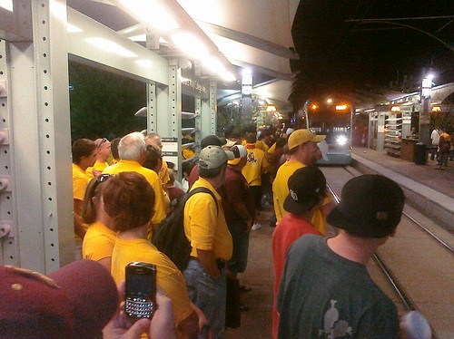 Sun Devil fans wait for light rail after a victory