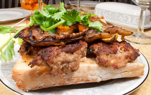 Meatball Sandwich with Grilled Veggies, Fire Roasted Salsa, Mozzarella ...