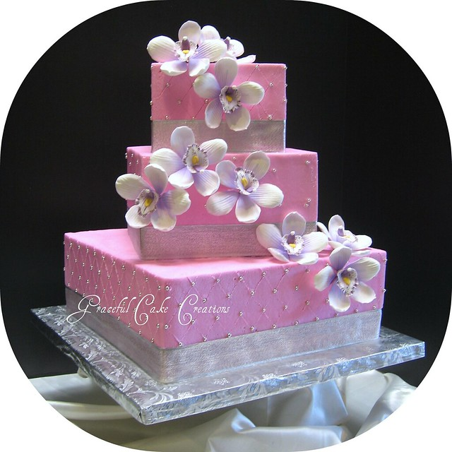 Pink And Silver Tropical Wedding Cake Flickr Photo Sharing