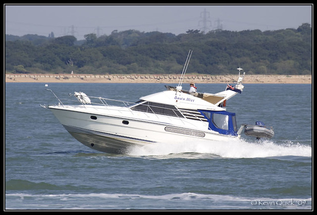 Fairline Phantom 37 motor yacht off Cowes, Isle of Wight, UK