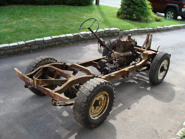 1947 Willys Jeep CJ2A chassis, engine, and running gear (body removed)