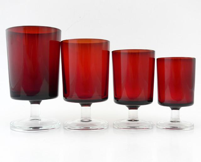 Set Of 64 Luminarc Ruby Red Cavalier Glasses France C