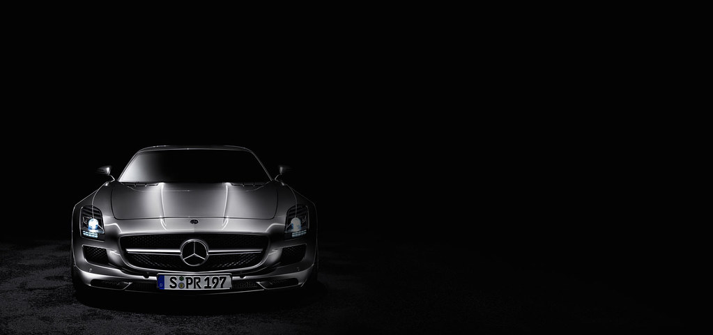The Mercedes Benz Sls Amg Front View Black Background A Photo On