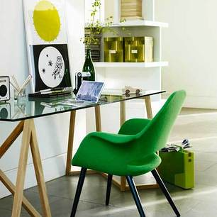 Green + modern: Charles Eames & Eero Saarinen Organic shell chair for Vitra