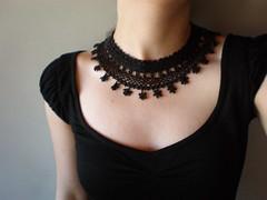 Black Lace - Trientalis Borealis ... Freeform Crochet Necklace