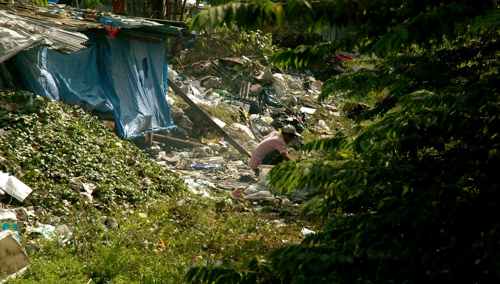 Thai workers sorting recycling