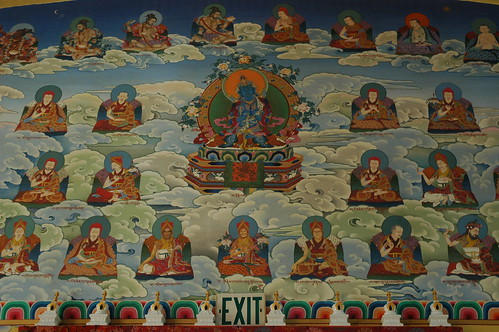 Adibuddhas, and the Sakya Lineage masters, Mural of the south wall of Sakya Monastery of Tibetan Buddhism, with small chortens, Seattle, Washington, USA by Wonderlane
