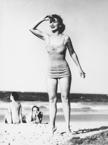 Cherry Walker modelling swimsuits at Surfers Paradise, 1951
