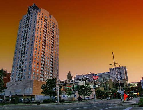 city sunset minnesota skyline downtown rochester hdr