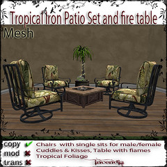Tropical Iron Patio set and fire table ad
