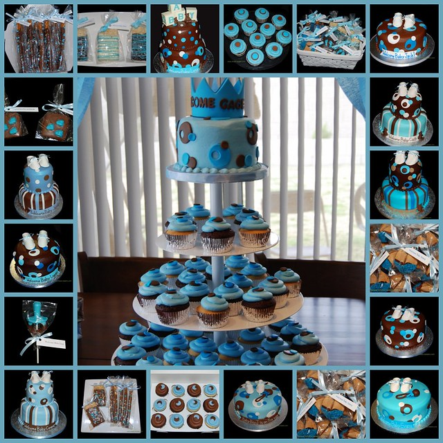 blue and brown baby shower cakes cupcakes and chocolates flickr