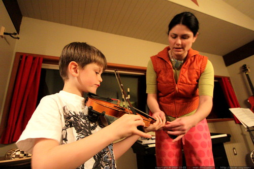 mother &  son violin practice