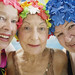 Elderly Women Wearing Colorful Bathing Caps