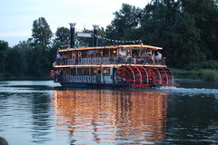 water, vehicle, transport, ship, river, reflection, paddle steamer, watercraft, boat, steamboat, waterway,