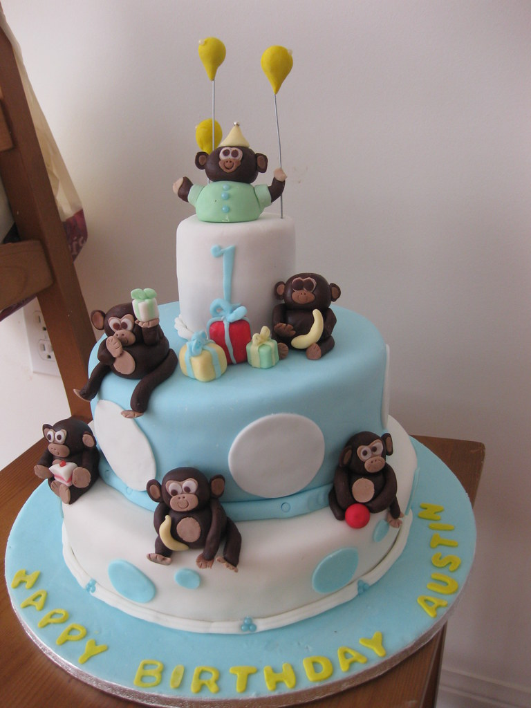 By Customcakesbyjenzca Baby Boy 1st Birthday Monkey Cake