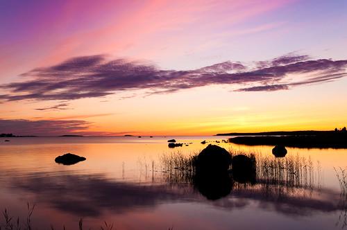 sunset sea seascape clouds landscape colorful calm seagrass kokkola morsiussaari