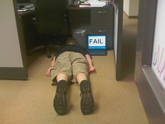 Cubicle worker FAIL.  For the FDT (Face Down Tuesday) group.  Today this pose is known as planking.