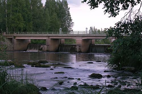 bridge summer sky cloud lake nature stone clouds finland landscape day stones pomarkku