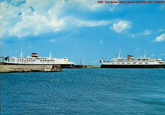 DSB - Roedby - Two ferries - Postcard - Coll: J.J.B.