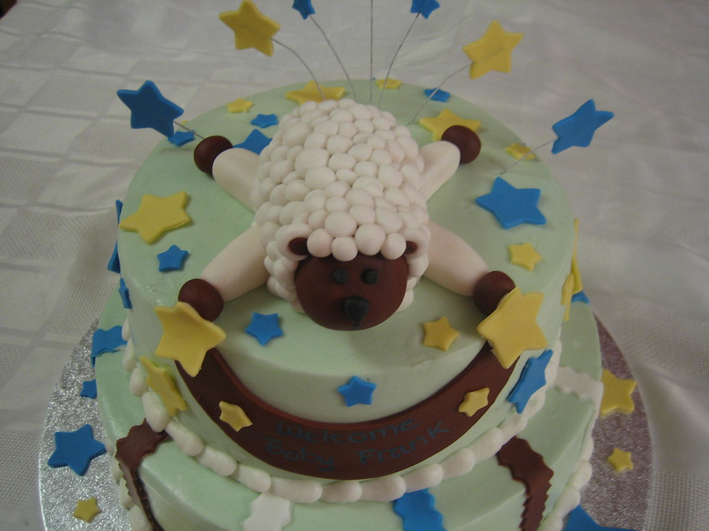 lamb baby shower cake with fondant lamb stars banner and stripes