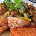 OITF UBC Farm | Organic Ocean Pacific salmon with warba potato, zucchini, chorizo, smoky tomato jus