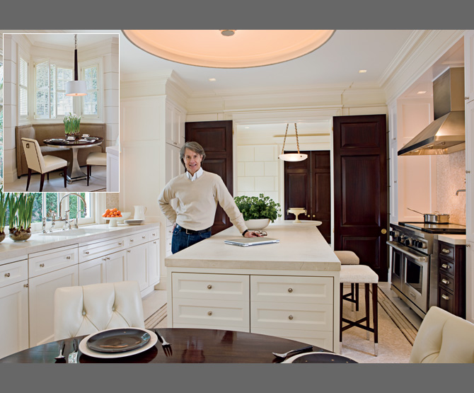 Classic white kitchen dark wood thomas pheasant 39 s for Classic chic home interior design digest