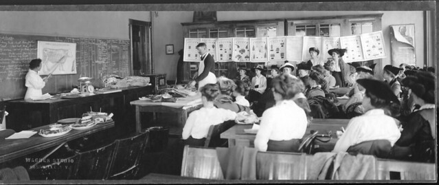 Extension school on meats at Dansville, NY, in 1916. Photo by Wagner Studio, Dansville, ...