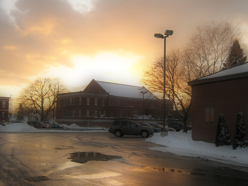 trees winter sunset snow water canon reflections parkinglot maine waterville orton a470