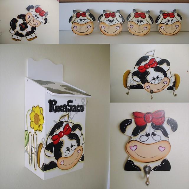 kit decoracao cozinha : kit decoracao cozinha:KIT COZINHA VAQUINHA COM LAÇO VERMELHO