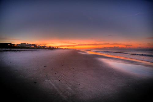 orange sun beach water sunrise sand waves glow northcarolina oakisland
