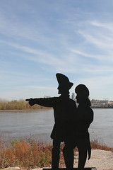 Lewis and Clark silhouette at Kaw Point
