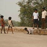 Boys playing at Purana Kila