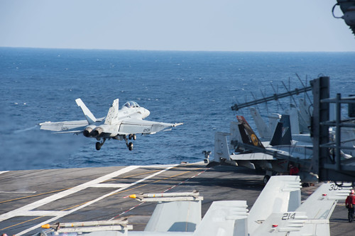 Mon, 02/13/2017 - 09:00 - 170213-N-MU198-097 MEDITERRANEAN SEA (Feb. 13, 2017)  Capt. Jim McCall, commander, Carrier Air Wing 8, launches an F/A-18F Super Hornet attached to the Black Lions of Strike Fighter Squadron (VFA) 213 from the aircraft carrier USS George H.W. Bush (CVN 77) in support of Operation Inherent Resolve. The George H.W. Bush Carrier Strike Group is conducting naval operations in the U.S. 6th Fleet area of operations in support of U.S. national security interests. (U.S. Navy photo by Mass Communication Specialist 3rd Class Danny Ray Nunez Jr./Released)