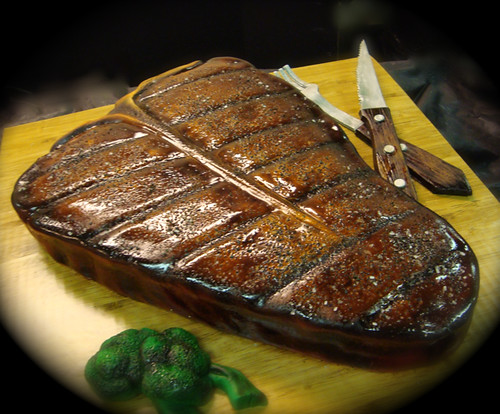 cooked t bone steak cake