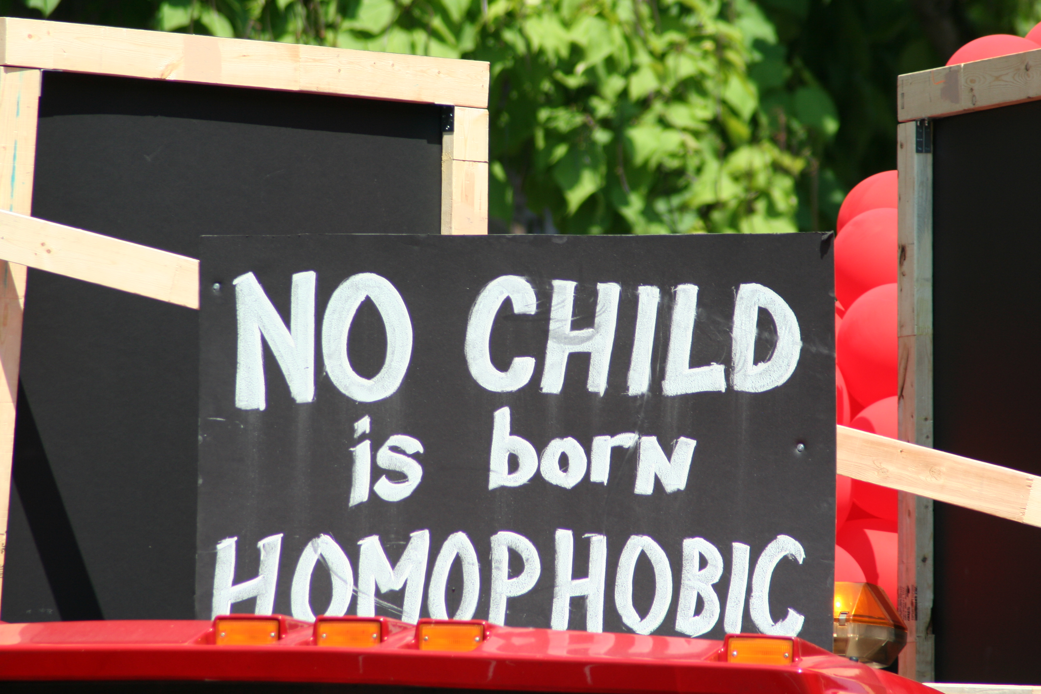 """No child is born homophobic"" from PaintingOnScars.com"
