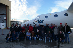 Scaled Composites team celebrate VMS Eve's maiden flight. Credit Freddie Weston-Smith