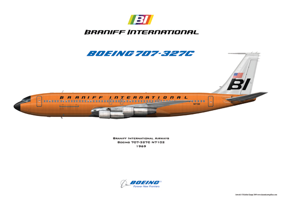 Braniff International Airways orange Boeing 707-327C N7102