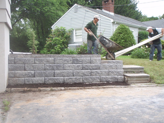 small retaining wall tied to existing steps flickr