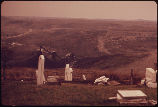 DOCUMERICA: View of Strip Mined Land and Tipple from a Graveyard Off Route 100, near Morristown, Ohio, and Steubenville. 10/1973 by Erik Calonius.