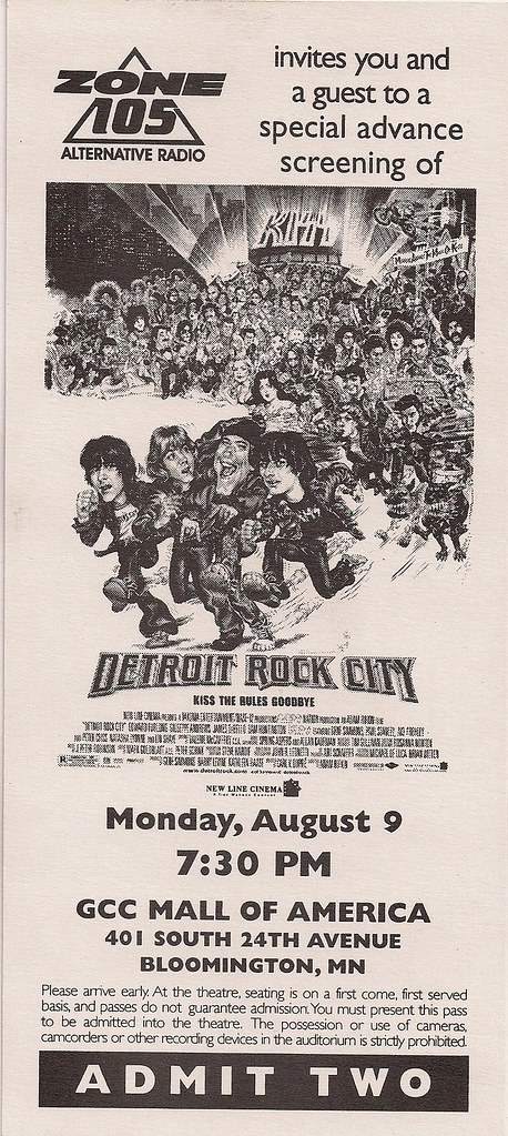 08/09/99 Detroit Rock City Advance Screening at Mall of America, Bloomington, MN (Ticket Voucher)