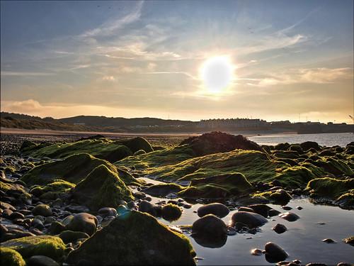 sunset sun seascape seaweed fog geotagged bay rocks alderney braye alge joby gorillapod coastuk geo:lat=49722044 geo:lon=2192061