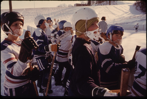 Youngsters at a Hockey Game at West Side Park ..., 01/1975