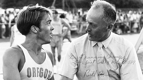 "Photo Inscription for Pre: ""Great Running Champ Your First Sub 4 Mile 3:57.4"" Bill Bowerman"