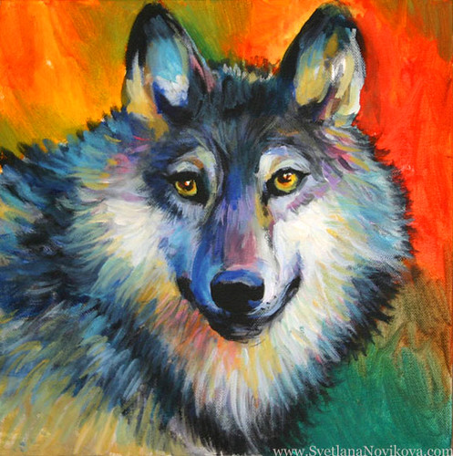 Wolf Painting Acrylics Flickr Photo Sharing