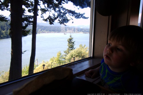 sequoia sitting in a restaurant booth above the columbia river    MG 0250