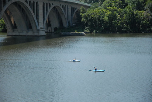 Kayaking near the Key Bridge and Potomac Boat Club.