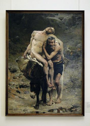 Painting - Le Bon Samaritain (The Good Samaritan) by Aimé Nicholas Morot class=